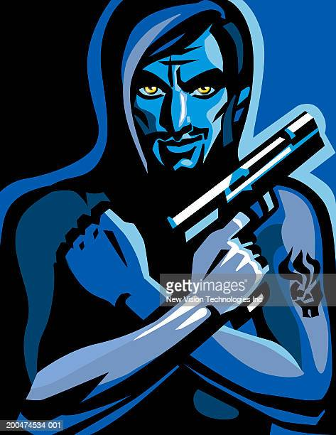 young man holding gun, arms crossed - one young man only stock illustrations
