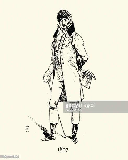 ブーツ、オーバーコート、トップハット、パリのファッションに19世紀初頭にタックブリーチの若者 - 1800~1809年点のイラスト素材/クリップアート素材/マンガ素材/アイコン素材