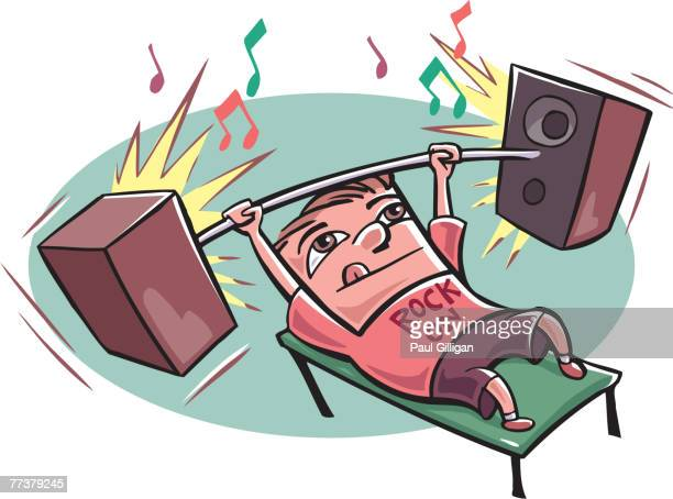 a young man lifting weights made of speakers - music style stock illustrations, clip art, cartoons, & icons