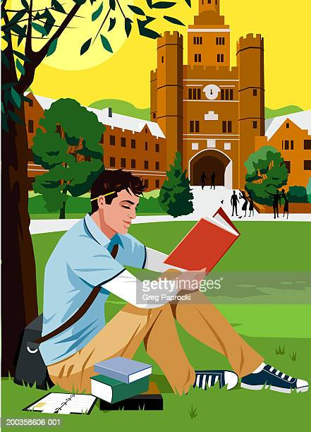 young man reading book beside tree on college campus, side view - one young man only stock illustrations
