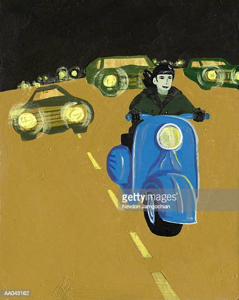 young man riding motor scooter in traffic - dividing line road marking stock illustrations, clip art, cartoons, & icons