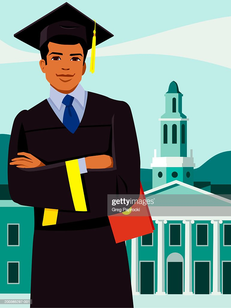 Young Man Wearing Mortar Board And Graduation Gown Arms Crossed ...