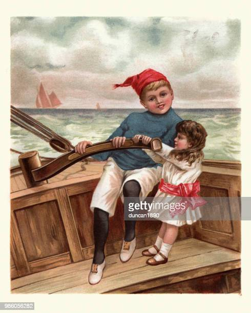 young mariners, young boy and his sister sailing small boat - harrow agricultural equipment stock illustrations, clip art, cartoons, & icons