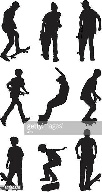 young men skateboarding - sports equipment stock illustrations