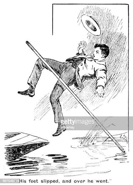 young nineteenth century man falling backwards off a punt into a river - dipping stock illustrations, clip art, cartoons, & icons