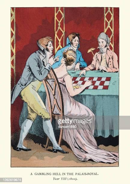 パレ・ロイヤルでギャンブルをする若いパリ市民、19世紀に始まる - 1800~1809年点のイラスト素材/クリップアート素材/マンガ素材/アイコン素材
