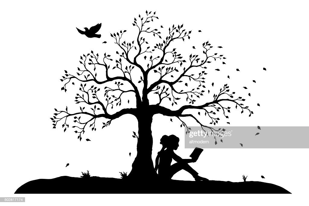 young reading girl under a tree : stock illustration