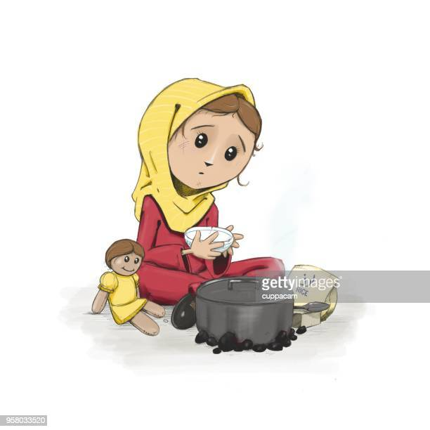 Young refugee girl waiting for the pot to boil