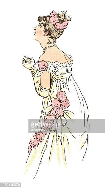 若い摂政時代の女性、留められた手 - リージェンシー様式点のイラスト素材/クリップアート素材/マンガ素材/アイコン素材