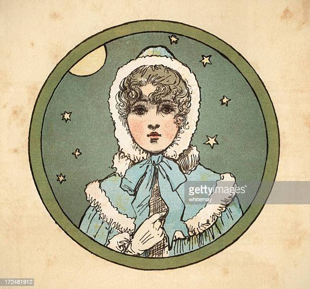 young regency era woman with moon and stars - bonnet stock illustrations, clip art, cartoons, & icons