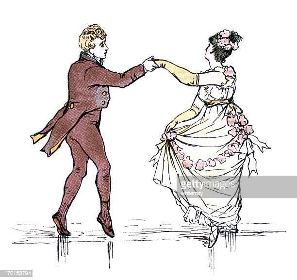 リージェンシースタイルの若いカップルダンス - リージェンシー様式点のイラスト素材/クリップアート素材/マンガ素材/アイコン素材
