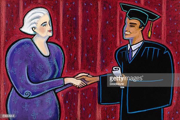 Young smiling man receiving diploma