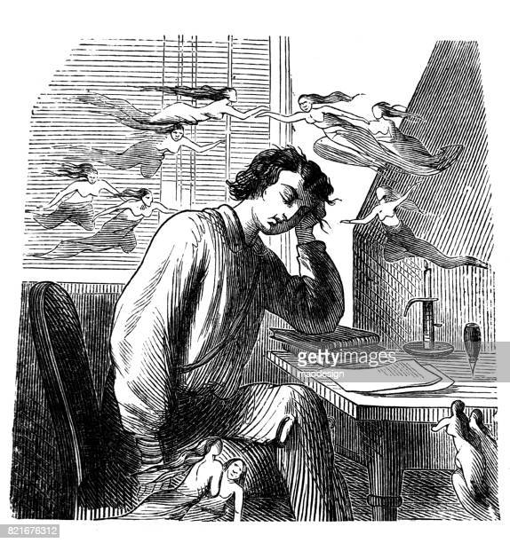 Young student, sitting at desk, tired from learning, dreaming of women - 1867
