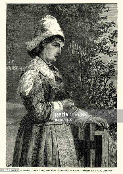 young victoian woman returning home from church - sunday best stock illustrations, clip art, cartoons, & icons