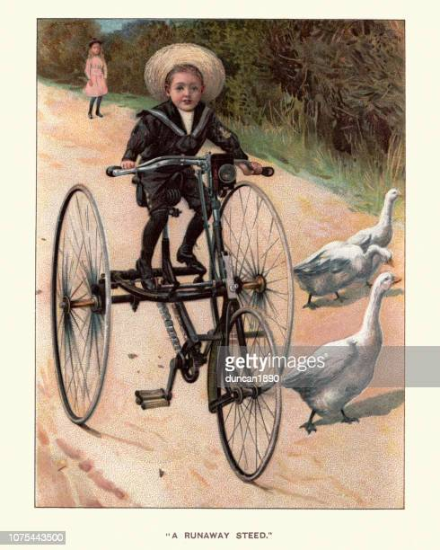 young victorian boy riding a tricycle, 19th century - runaway vehicle stock illustrations, clip art, cartoons, & icons