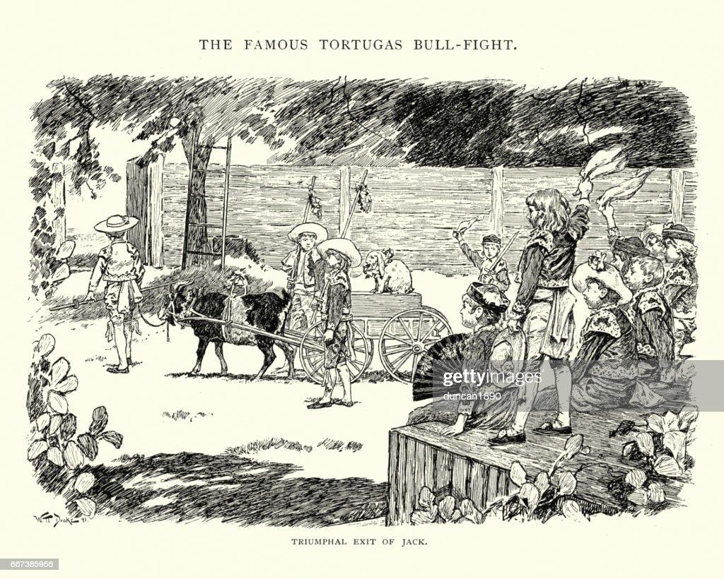 Young victorian boys playing at bullfighting : stock illustration