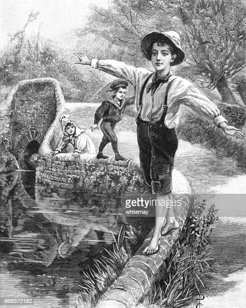 ilustraciones, imágenes clip art, dibujos animados e iconos de stock de young victorian boys walking on a wall - inocentada