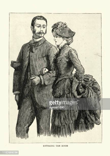 young victorian couple entering a monte carlo casino, 1886 - monte carlo stock illustrations, clip art, cartoons, & icons