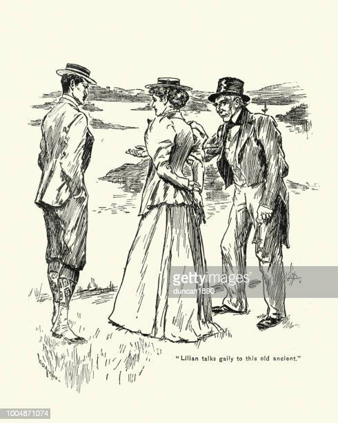 Young Victorian couple out for a walk