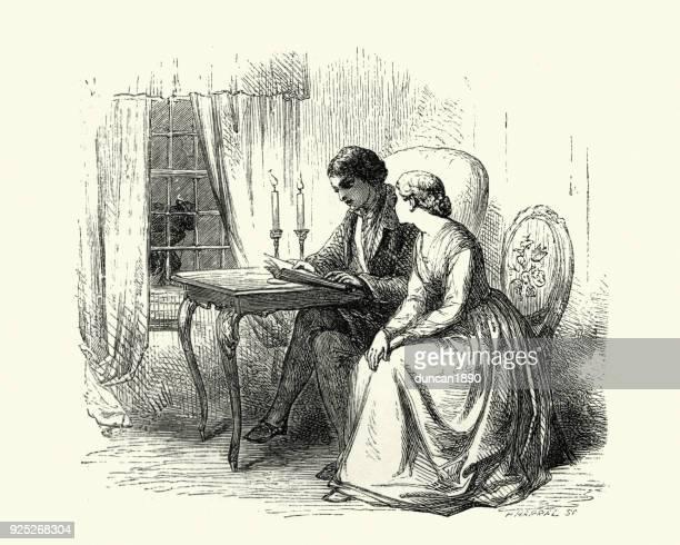 1855、ろうそくの明かりで読む若いビクトリア カップル - 19世紀点のイラスト素材/クリップアート素材/マンガ素材/アイコン素材