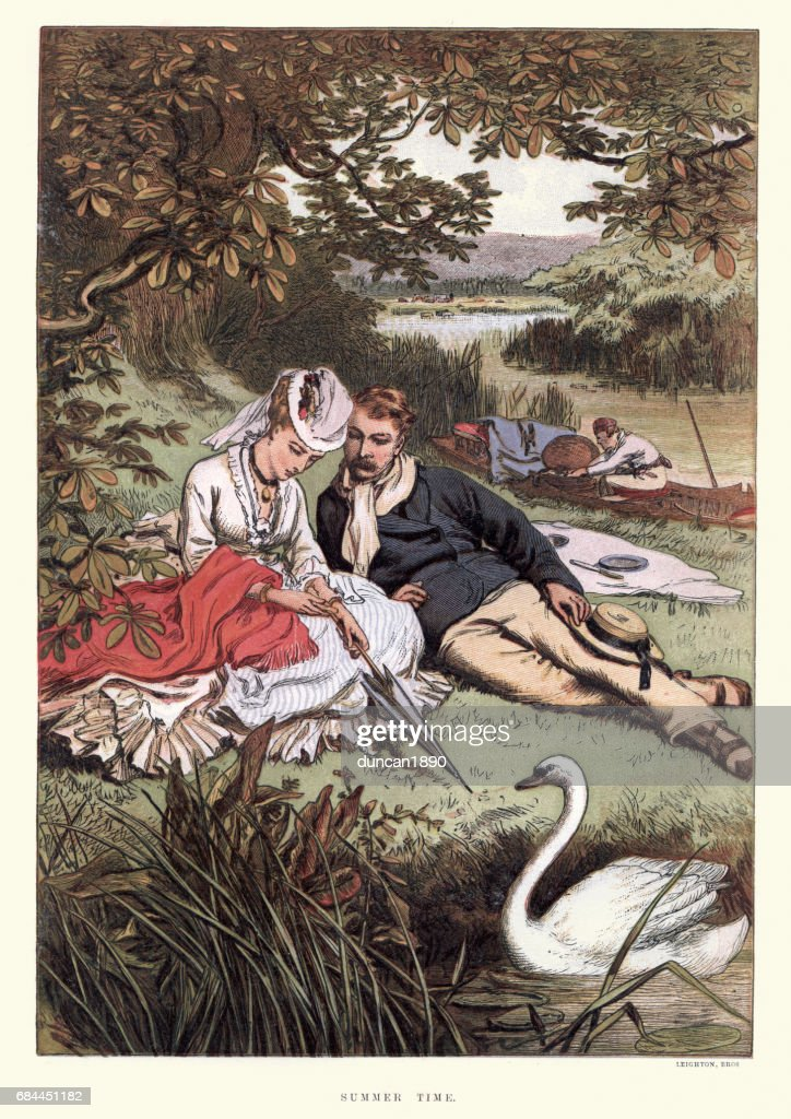Young victorian couple relaxing on the riverbank 19th Century : stock illustration