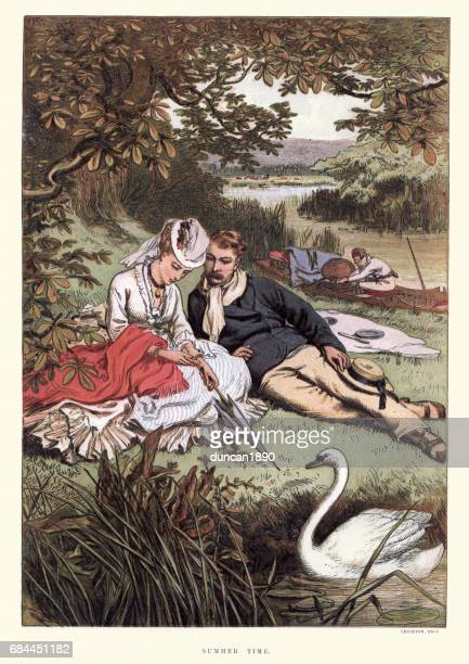 ilustrações, clipart, desenhos animados e ícones de young victorian couple relaxing on the riverbank 19th century - flirting