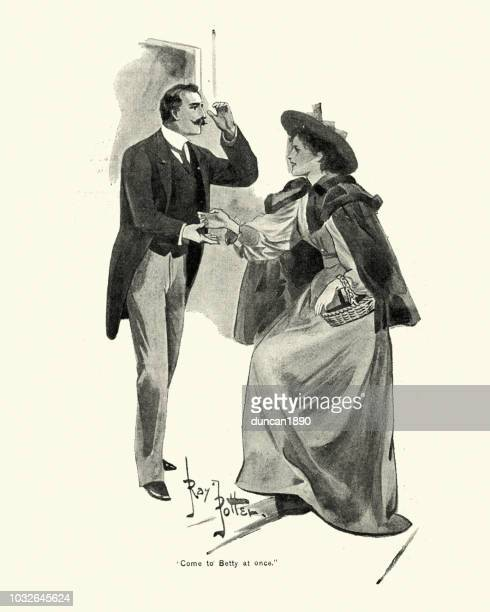 young victorian couple shaking hands, 1890s, 19th century - social grace stock illustrations, clip art, cartoons, & icons
