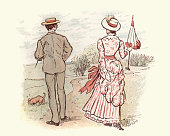 vintange illustration young victorian couple walking