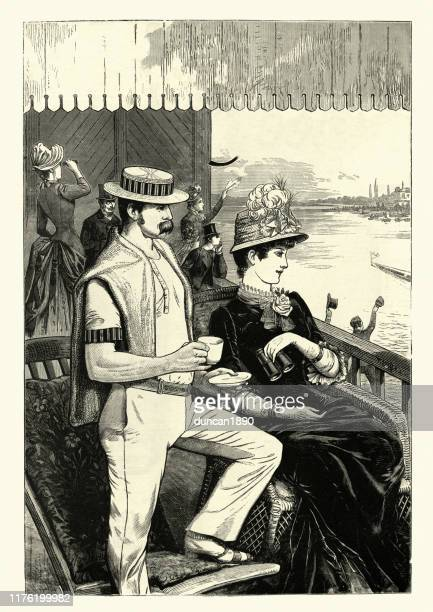 young victorian couple watching the boat race, 19th century - straw boater hat stock illustrations