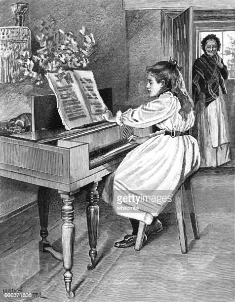 ilustraciones, imágenes clip art, dibujos animados e iconos de stock de niña victoriana de joven tocando el piano - mujer escuchando musica