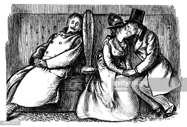 young victorian lovers with an eavesdropper - adult stock illustrations, clip art, cartoons, & icons
