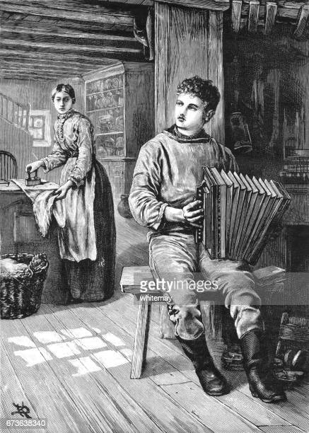 young victorian man playing an accordion in his home - iron appliance stock illustrations, clip art, cartoons, & icons