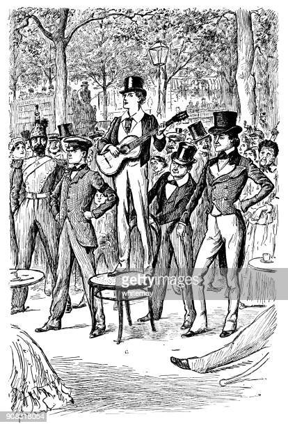 Young Victorian man standing on a chair and playing a guitar