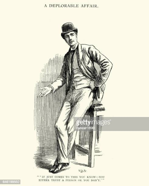 Young victorian man wear a bowler hat