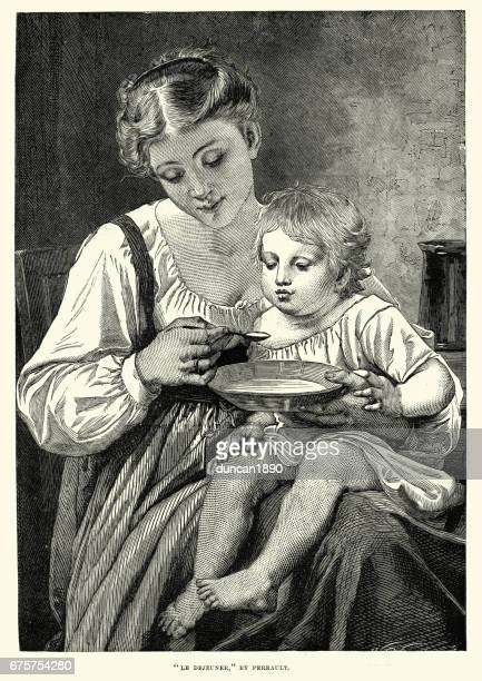 Young victorian mother feeding her child, c.1870