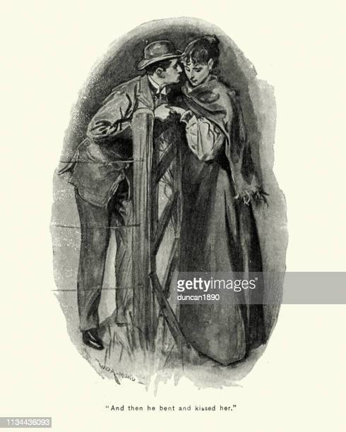 Young Victorian sweethearts kissing, and in love