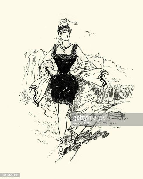 young victorian woman bathing costume at the beach - swimwear stock illustrations, clip art, cartoons, & icons