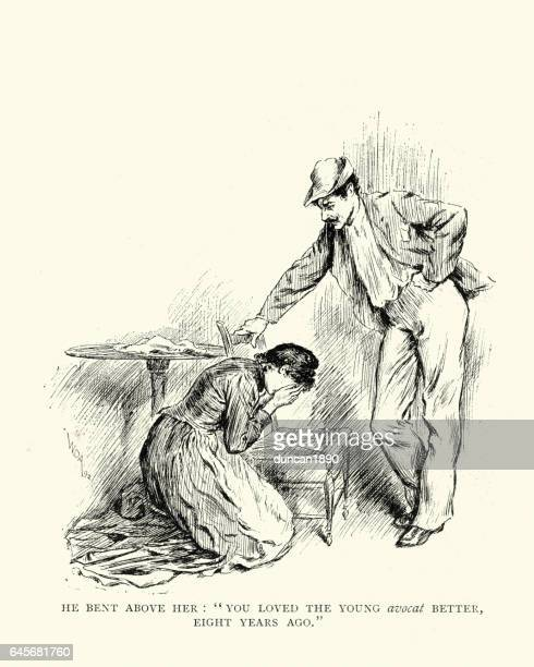 Young victorian woman crying at the feet of a man