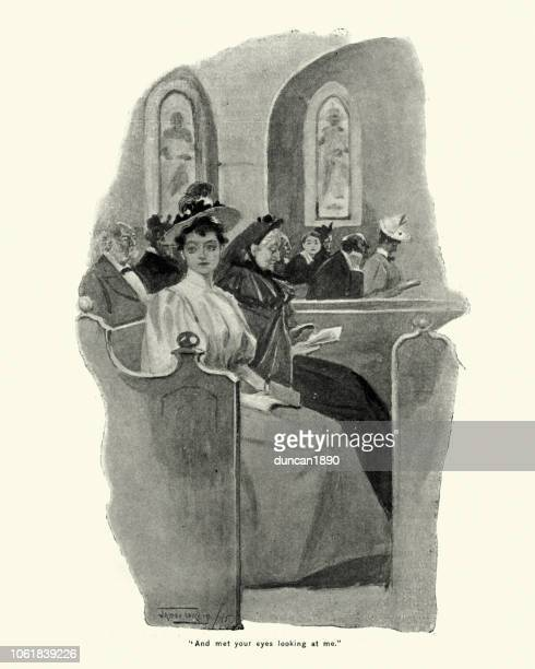 Young victorian woman in church for sunday mass, 1896