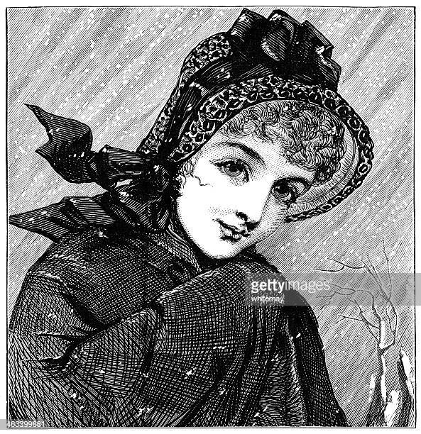 young victorian woman in the snow - bonnet stock illustrations, clip art, cartoons, & icons