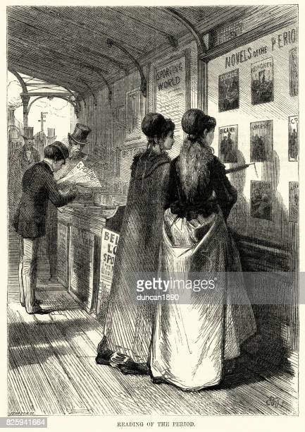 young victorian woman reading adverts for penny dreadful books - bookstand stock illustrations, clip art, cartoons, & icons