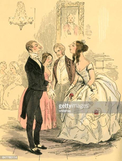 Young Victorian woman snobbishly regarding a prospective dance partner