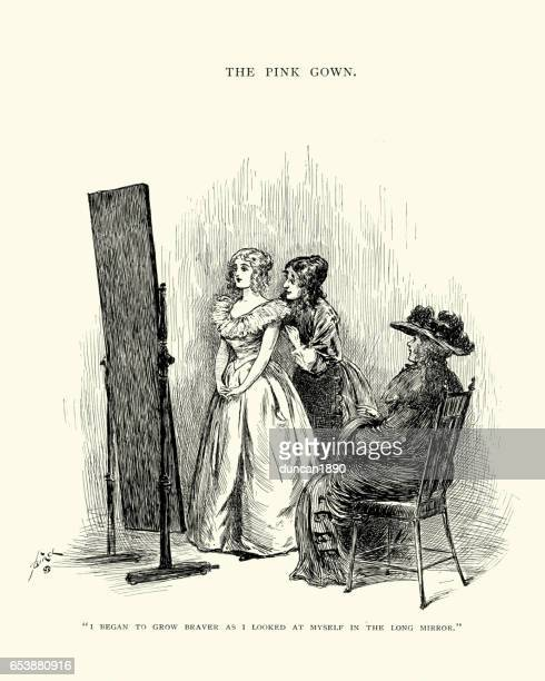 young victorian woman trying on a new gown - evening gown stock illustrations