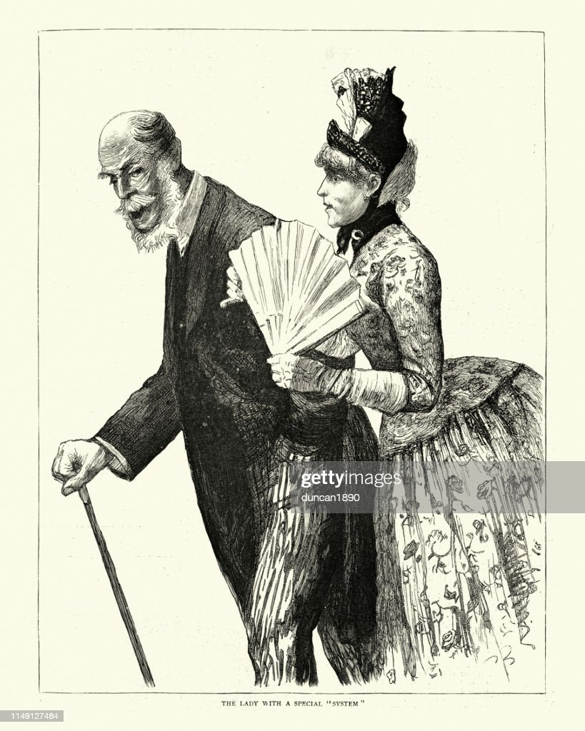 Young victorian woman with rich old man, Monte Carlo, 1880s : stock illustration