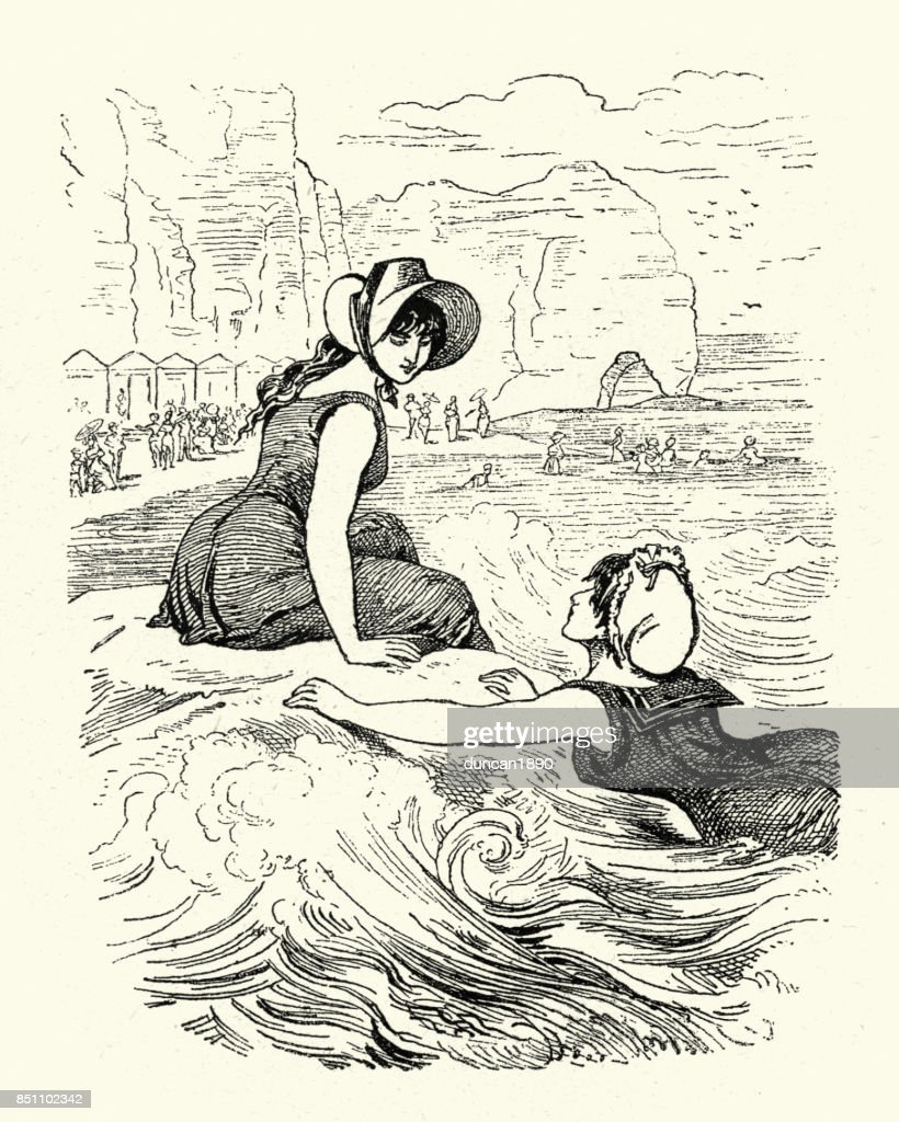 Young victorian women swimming in the sea, 1880s : stock illustration