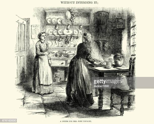 young victorian young baking in the kitchen, 19th century - pastry dough stock illustrations, clip art, cartoons, & icons