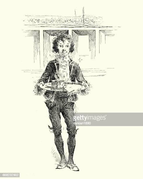 Young waiter carrying a tray, 19th Century