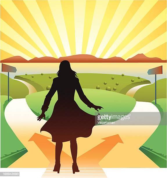 ilustrações, clipart, desenhos animados e ícones de jovem mulher no cruzamento - encruzilhada