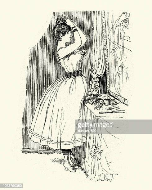 young woman doing her hair and make-up, 1880s - updo stock illustrations, clip art, cartoons, & icons