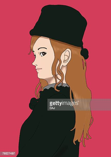 A young woman dressed in black, Portrait, Illustration